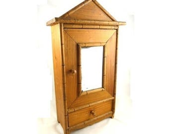 Vintage French Faux Bamboo Salesman Armoire Sample Minitature Pine Cabinet Doll Furniture with Mirror Door and Drawer