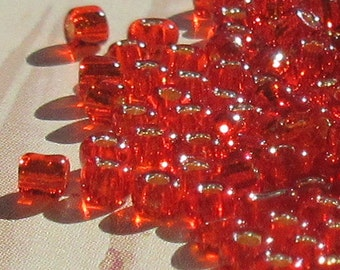Silver Lined, Red, 12/0 Seed Beads, 2mm , Round Jewelry Making Beads (SEED-2MM-SL-18)