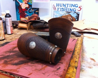 Western leather cowboy cuffs hand tooled