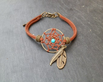Dreamcatcher Boho bracelet / dream catcher Hippie Leather Bracelet / Native American Turquoise / handmade