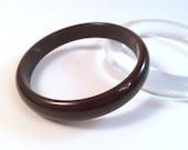 "Vintage Bakelite Bangle - Dark Chocolate Brown Polished Bakelite Catalin Bracelet 7/16"""