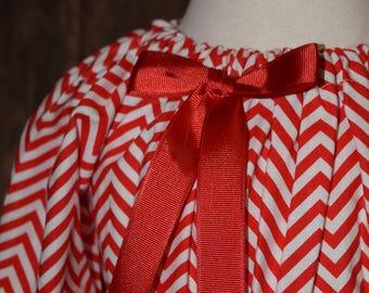 Christmas Red/White Chevron Peasant/Bishop Dress Size 3/4