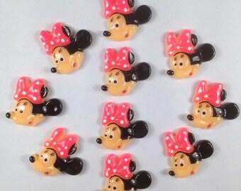 bulk lot 10/50/100 Minnie Mouse Hot Pink Bow Resin Flatbacks Flat Back Scrapbooking Hair Bow Center Phone Crafts Making DIY