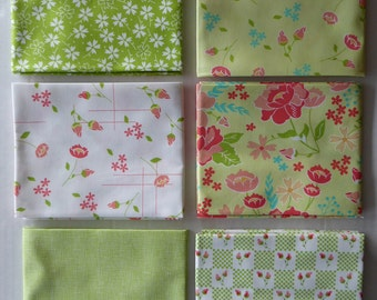 Lulu Lane by Moda Cotton Fabric, Fat Quarter Bundle of 6~Grp #5-Green~Fast Shipping Fq679