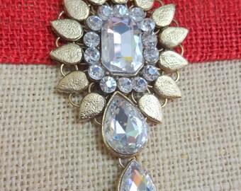 Antique Bronze Metal Embellishment, Wedding Accents, Scrapbooking, Rhinestone Charm, Bag Embellishment, Craft Supplies
