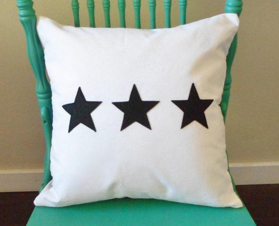 Star Pillow Cover / 3 stars / Star Decor / Home Decor / Pillow case / Choose Fabrics / Throw Cushion / Star Decorations /