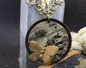 "Butterfly steampunk necklace ""timless treasure "" The Victorian Magpie"