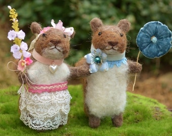 Squirrel Matrimony one of a kind needle felted sculpture