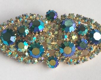 STUNNING, Blue/Green Aurora Borealis Rhinestone 1950s Pin