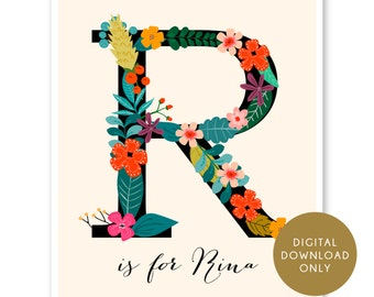 Digital Download, Custom Monogram, Flower Print, Custom Home Decor, Floral Monogram, Nursery Art Print