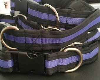 Thin Blue Line Dog Collar, Medium, Large and Extra Large Sizes