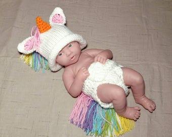 Unicorn photo prop newborn baby girl crochet