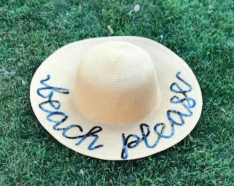 Custom / Personalized Sequin Floppy Straw Sun Hat // gift for her // destination wedding // bachelorette party gift // honeymoon // vacation