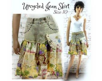 upcycled tan skirt -  upcycled denim skirt - denim jean skirt , Boho skirt - alternative skirt - denim skirt - Size 10  # 174