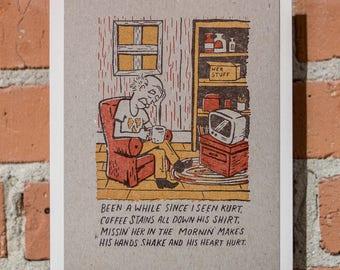 Kurt's Coffee 6x8 Woodcut