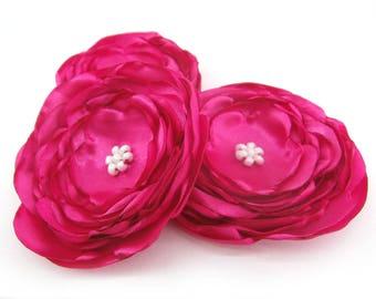 Pink Fabric Flowers, Bright Pink Flowers, Headband Flowers, Flower Supplies, Handmade Flowers, Wedding Flowers, Large Flowers, Set of 3