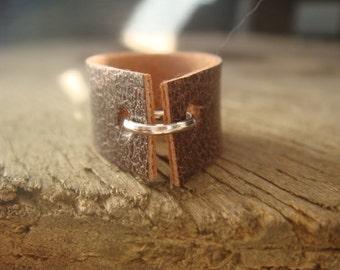 Faux Leather Ring - Boho Ring - Vegan Ring - Brown Leather Ring - Faux Leather Band - Tan Leather Ring - Minimalist Jewelry