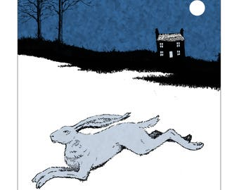 The Hare and the Moon - Folklore Greetings Card