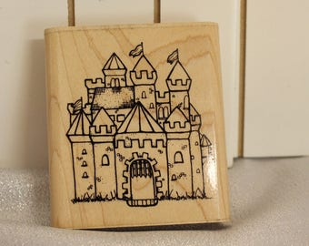 DOTS CASTLE Rubber Stamp Castle Stamp Architectural Stamp, Princess Stamp Wood Mount Rubber Stamp Background stamp, Birthday Card Making