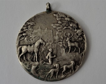 Antique Religious Medal St. Hubert