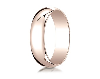 6MM Wide 14K Rose Gold Men's or Women's Classic Domed Ring Awesome Plain Wedding Band or Promise Ring w/ Free Inside Custom Engraving