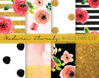 Watercolor floral background, Kate striped digital paper, Flower Kate paper, Watercolor Kate paper, Seamless digital paper, Floral planner