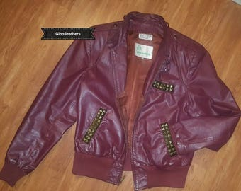 Vintage mens 42 R Gino Leathers leather cafe racer motorcycle jacket studed 80's