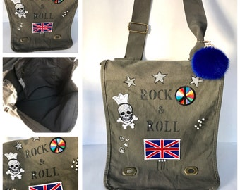 Women or teen Military inspired cotton canvas rock and roll field bag On Sale/No Returns