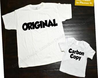 Original and carbon copy shirts / Adult Shirt and smaller shirt or Bodysuit