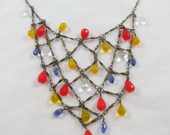 Art Deco Style Brass Tone Necklace with Colorful Glass Beads