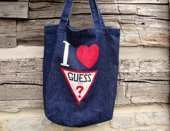 80s Guess Jeans Denim Tote Bag I Heart / Love Guess USA Large