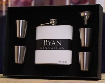 Groomsmen Gifts, Set of 2, Personalized Flasks for Groomsmen