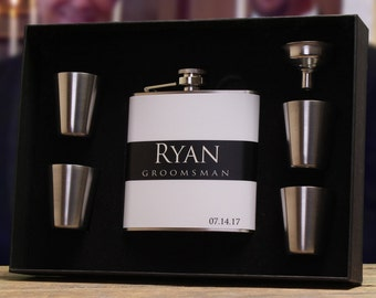 Custom Gifts, Set of 6, Personalized Flasks, Groomsmen Gifts, Black