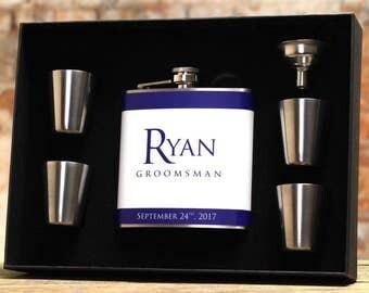 Blue Wedding, Groomsman Gift, Personalized Flask