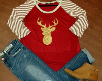 Christmas Reindeer Head 3/4 Sleeve Raglan Shirt