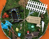 DIY fairy garden kit with container, Blue and Green Polka Dots round house brown base, Weathered Galvanized Tub