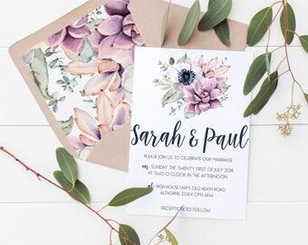 Wedding/ Party Invitations - Floral Succulent Design x 40