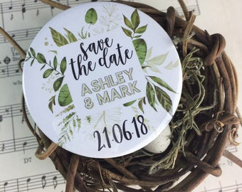 Wedding Save The Date Magnets - Green Foliage Design Complete With Organza Bags (59mm)
