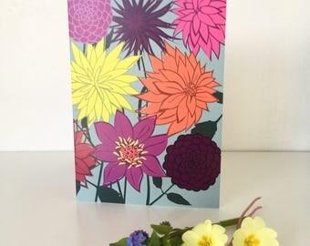 Dahlia Greeting card - floral - card for gardener - flower - spring - gardens