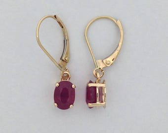 Natural Ruby Dangle Earrings Solid 14kt Yellow Gold