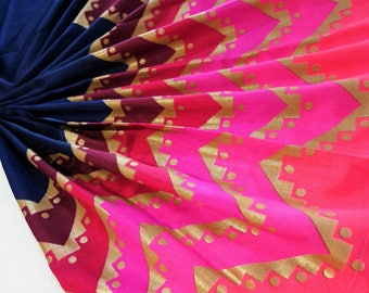 navy blue art silk  fabric with ombre pink ans gold pattern print