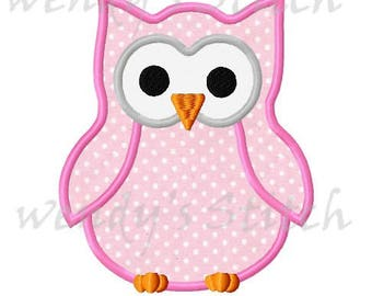 owl applique machine embroidery design instant download