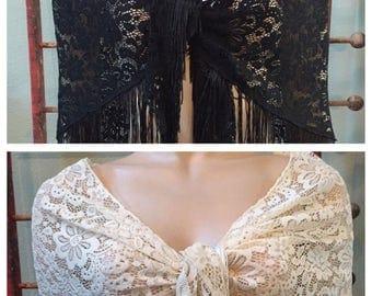Gorgeous Vintage Fringe 20's style black or off white shawl