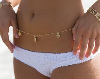Gold Bohemian Filigree Coin Belly Chain or Belt