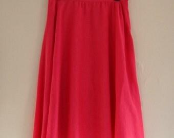 Vintage Pink Skirt // Gauzy Circle Skirt // Round Midi Skirt // Skirt w/ Pockets