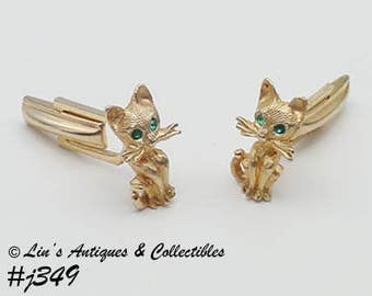 Vintage Cufflinks Cats with Green Rhinestone Eyes Vintage Cufflinks Cuff Links (Inventory #J349)