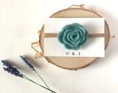 Aqua felted wool rosette headband | flower rose floral | no dent stretch elastic nylon headband | aqua blue light blue flower headband