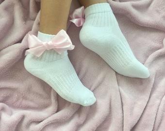 Cute kawaii handmade harajuku satin bow socks sporty sport sokken pastel baby pink quarter socks