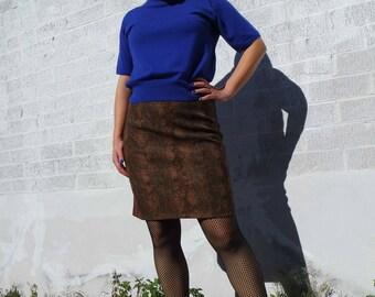 90's Snake Skin Print Pencil Skirt