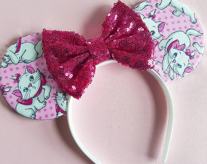 Marie Mouse Ears || Minnie Ears || Aristocats Mouse Ears || Mouse Ears Headband || Marie Ears || Sparkle Mouse Ears || RTS